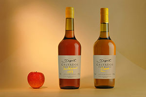 Calvados bottles with apple