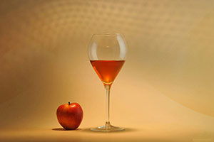 Cider glass with apple